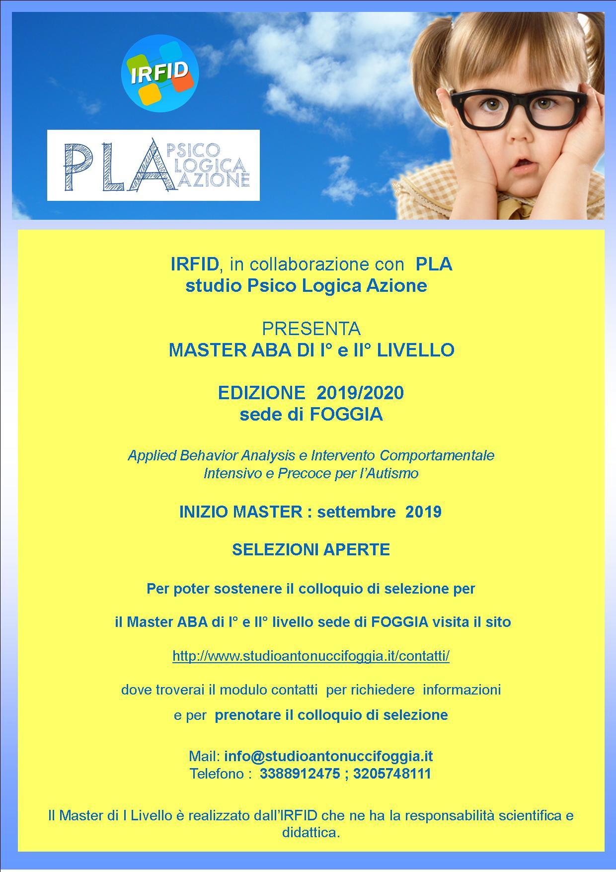 Master ABA di I e II livello  organizzato da  IRFID e PLA  a FOGGIA edizione  2019/2020